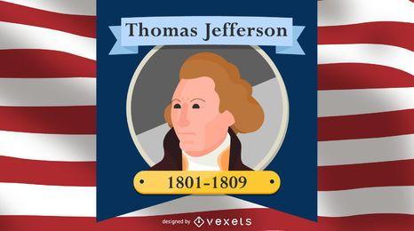 Ilustración de dibujos animados de Thomas Jefferson