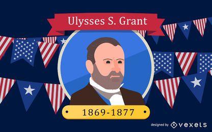 Ilustração dos desenhos animados de Ulysses S Grant