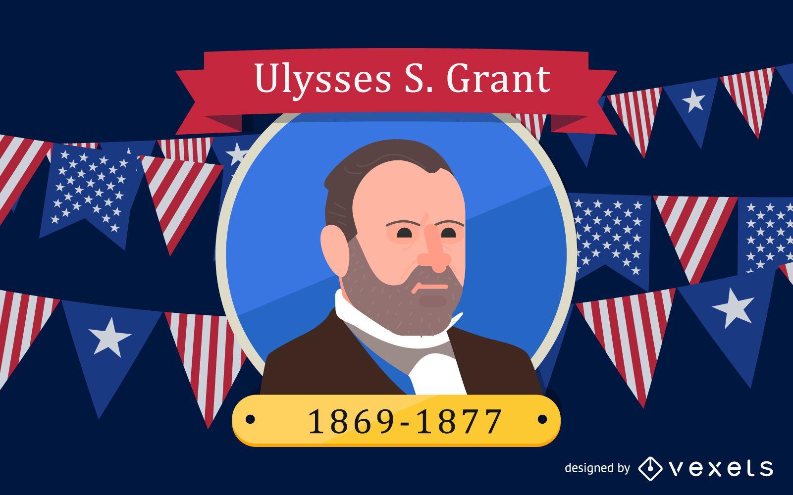 Ilustración de dibujos animados de Ulysses S Grant