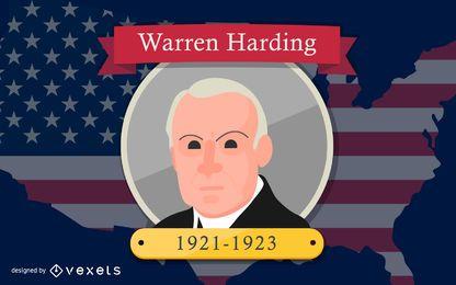 Ilustración de dibujos animados de Warren Harding