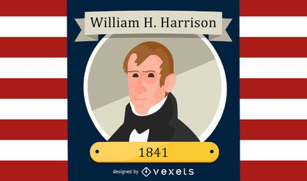 William H Harrison Cartoon Illustration