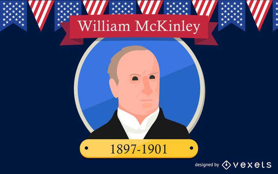 Ilustración de dibujos animados de William McKinley