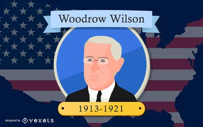 Präsident Woodrow Wilson Cartoon Design