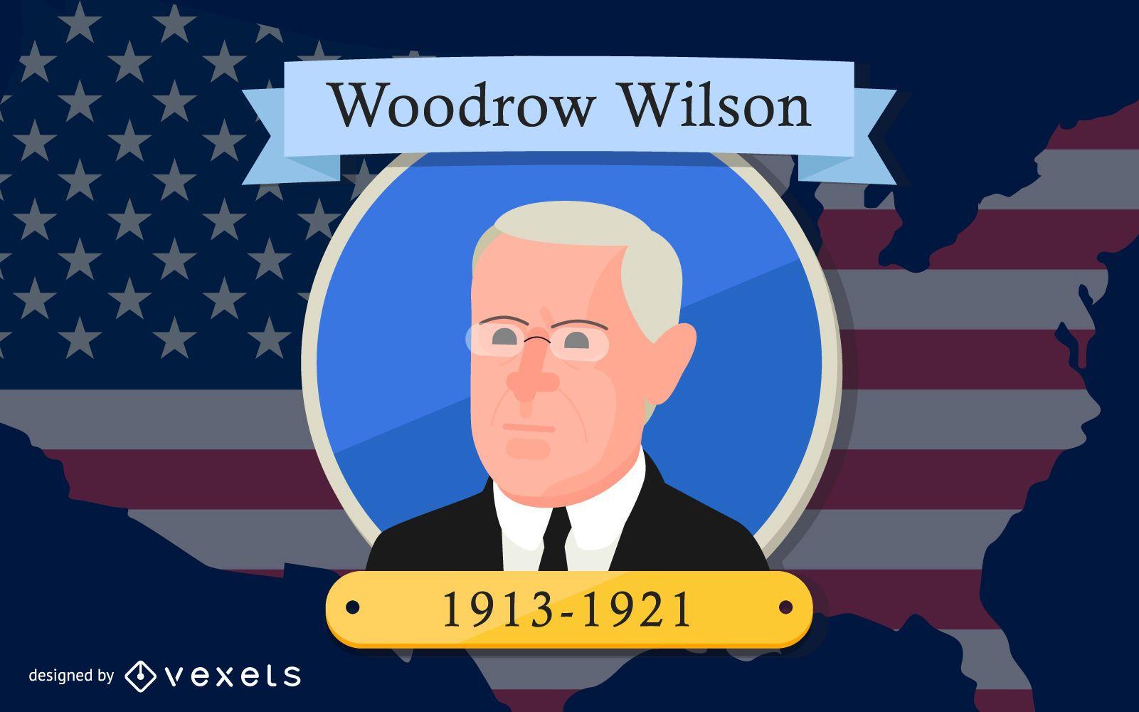 Diseño de dibujos animados del presidente Woodrow Wilson