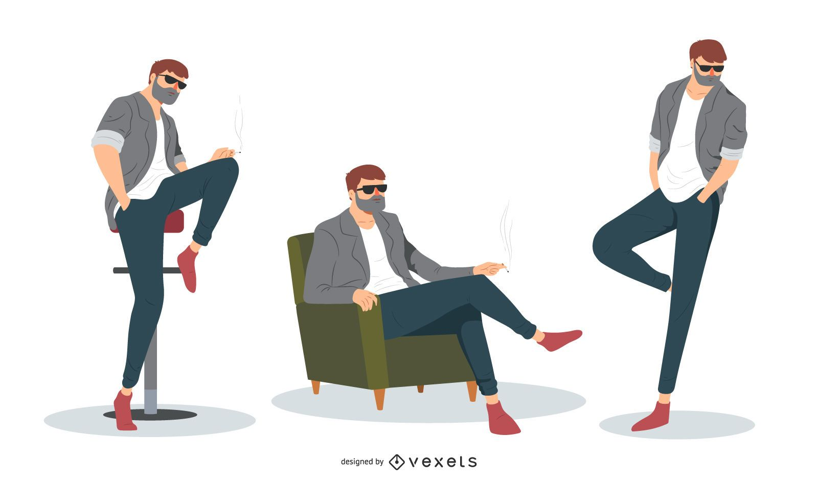Cool Man Vector Set