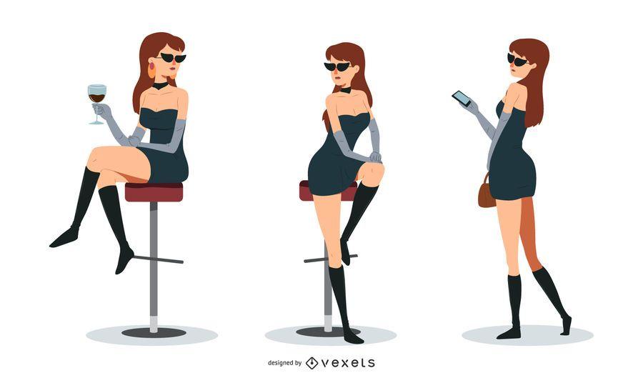 Hübsche Frau Vektor festgelegt