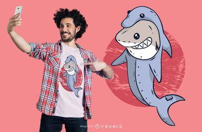 Projeto do t-shirt do golfinho do tubarão
