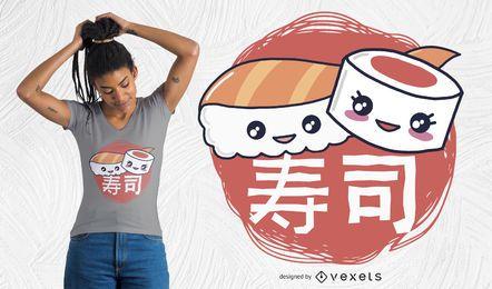 Diseño de camiseta Sushi Pieces