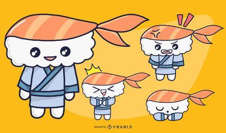 Conjunto de caracteres de sushi masculino