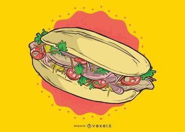 Ilustração de sanduíche de clube