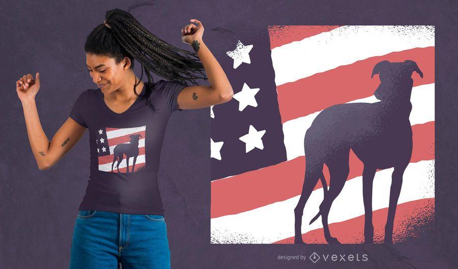 Diseño de camiseta perro bandera americana.