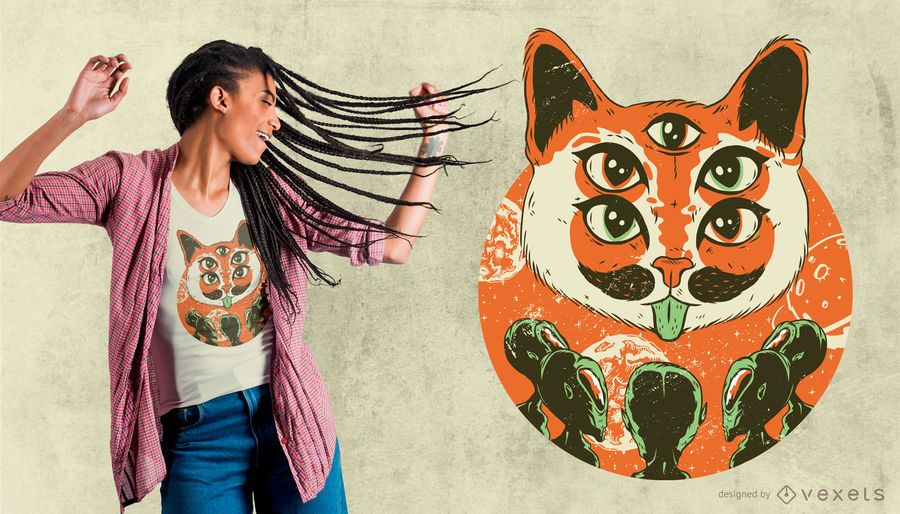 Diseño de camiseta de gato extranjero