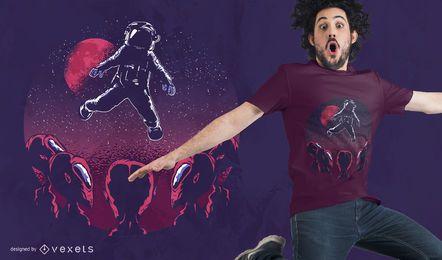 Design de camiseta astronauta alienígena