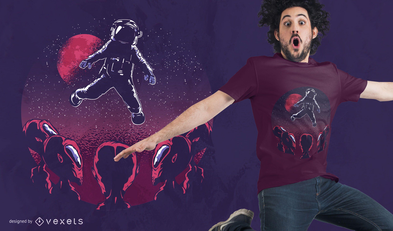 Astronaut Alien T-shirt Design