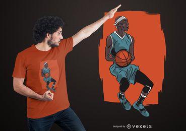 Design de t-shirt de jogador de basquete