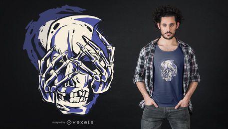 Projeto do t-shirt do crânio de luto