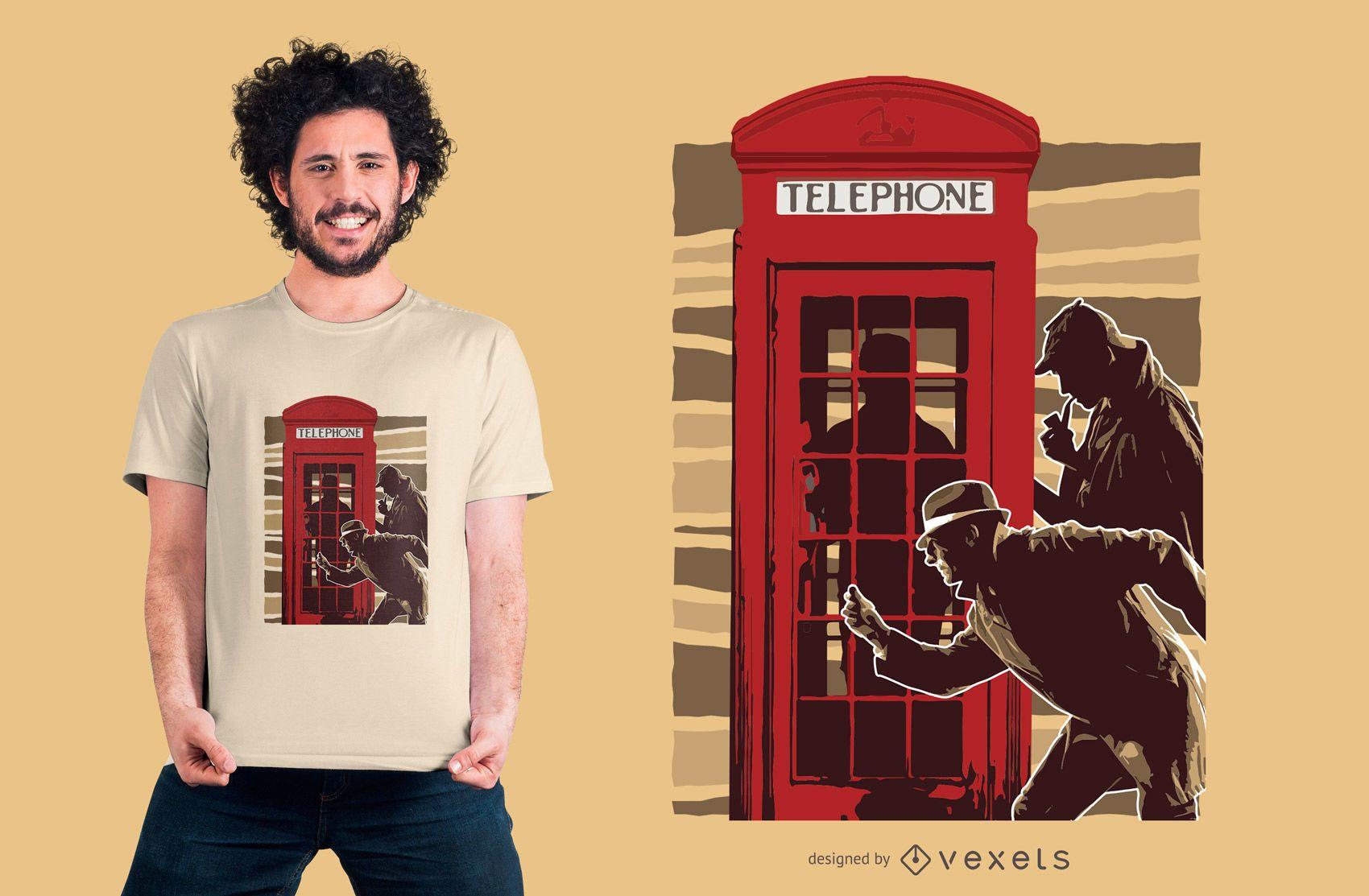 Design de camisetas de telefone para detetives