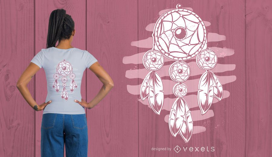 Diseño de camiseta Dream catcher Plumas.