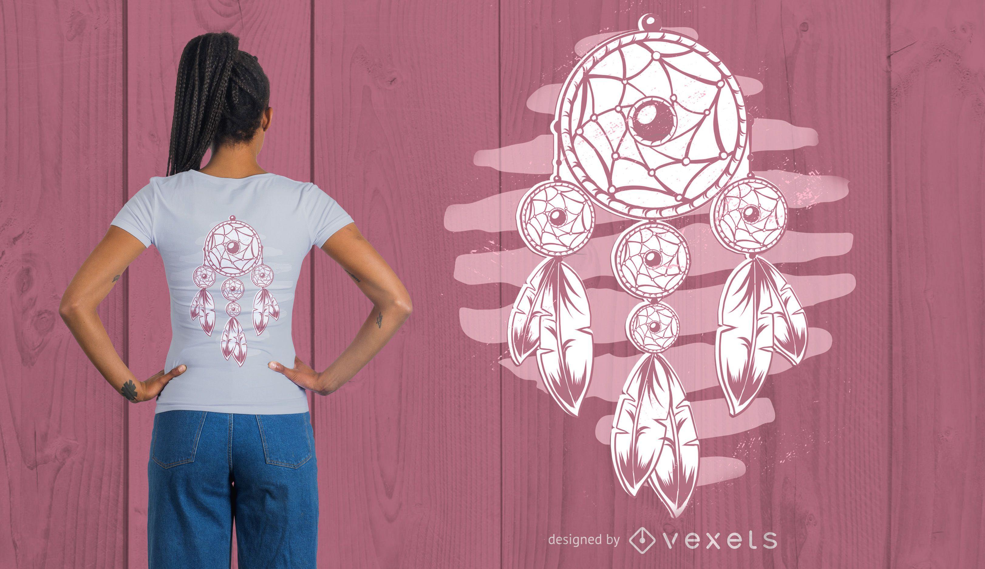 Diseño de camiseta de plumas de atrapasueños.