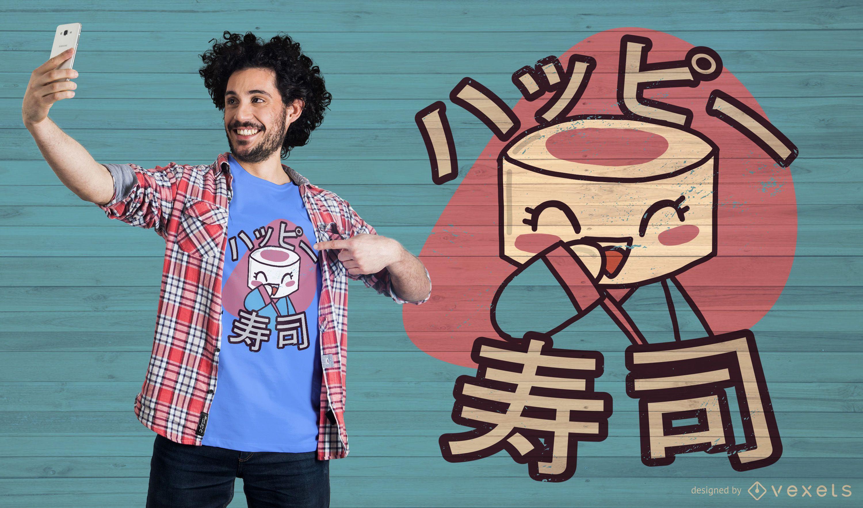 Diseño de camiseta de personaje de sushi.