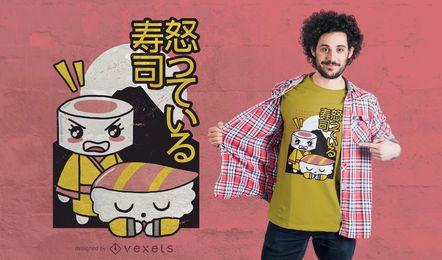 Diseño de camiseta argumentando sushi.