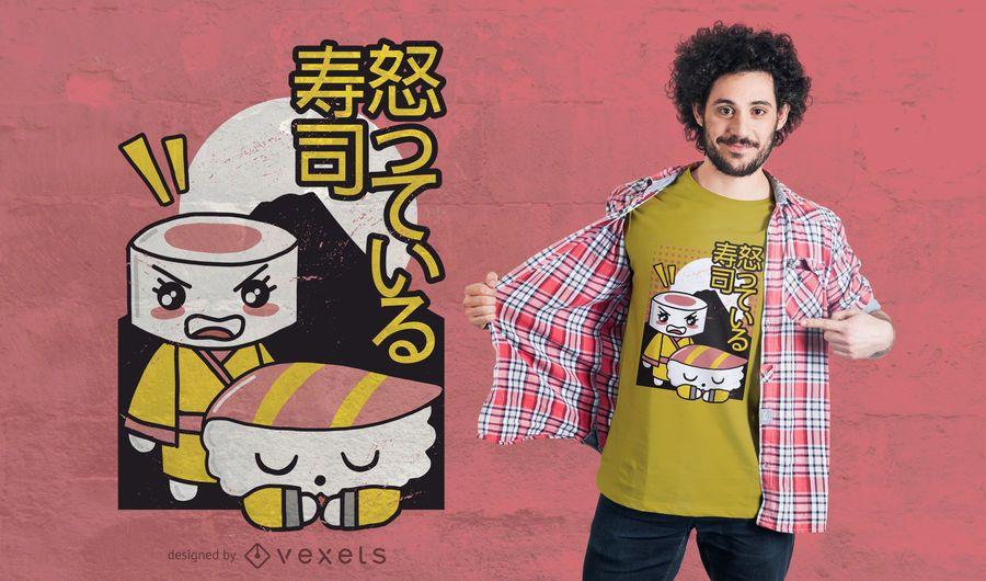Sushi arguing t-shirt design