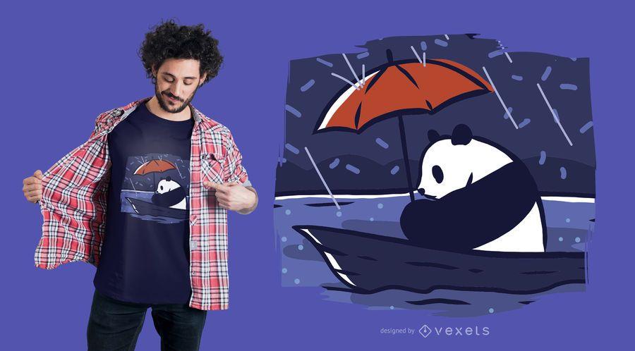 Panda en un diseño de camiseta de barco