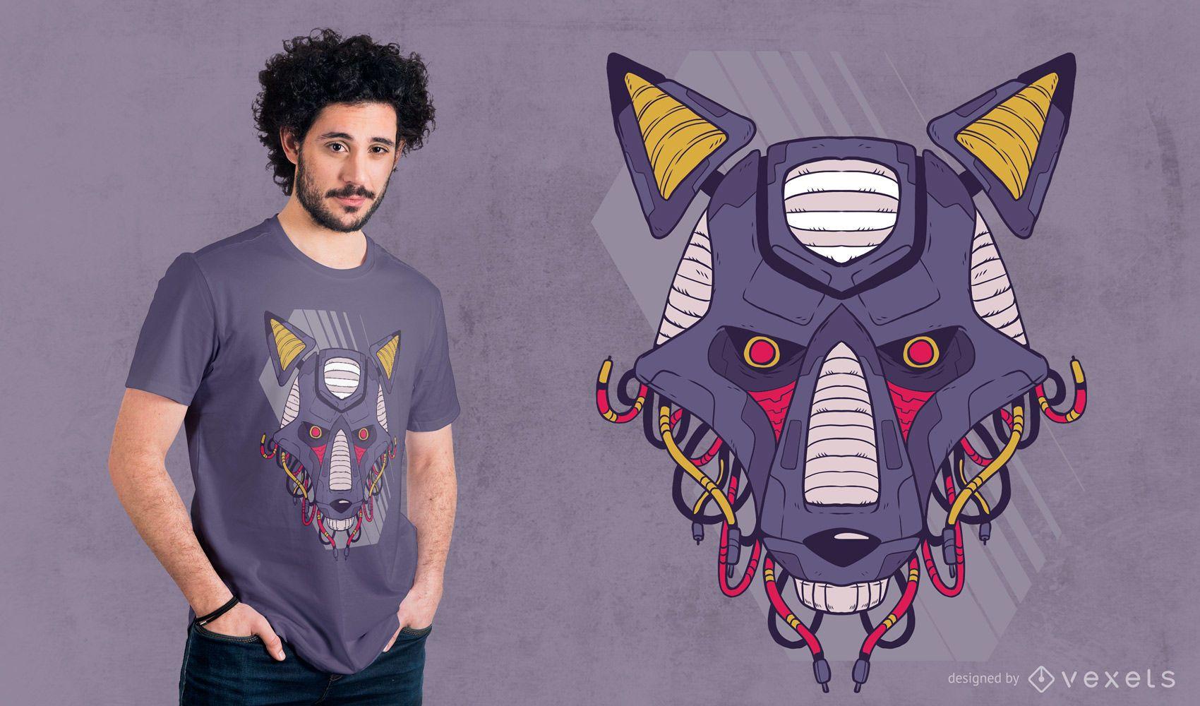Diseño de camiseta de lobo robótico.
