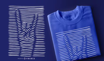 Design de t-shirt com sinais de rock and roll