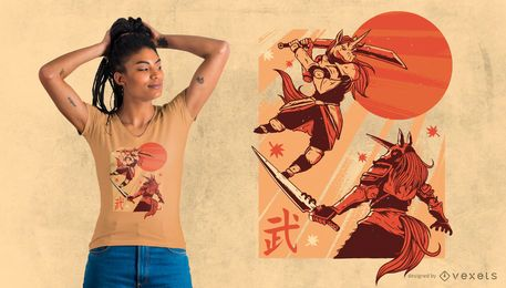 Einhorn-Samurai-T-Shirt Entwurf
