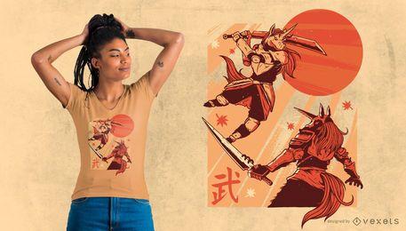 Projeto do t-shirt do samurai do unicórnio
