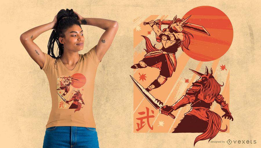 Unicorn Samurai T-shirt Design