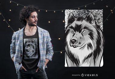 Projeto do t-shirt do esboço do lobo