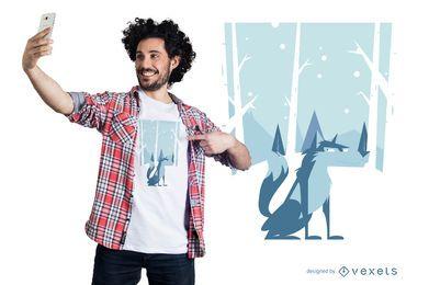Projeto do t-shirt do lobo do inverno