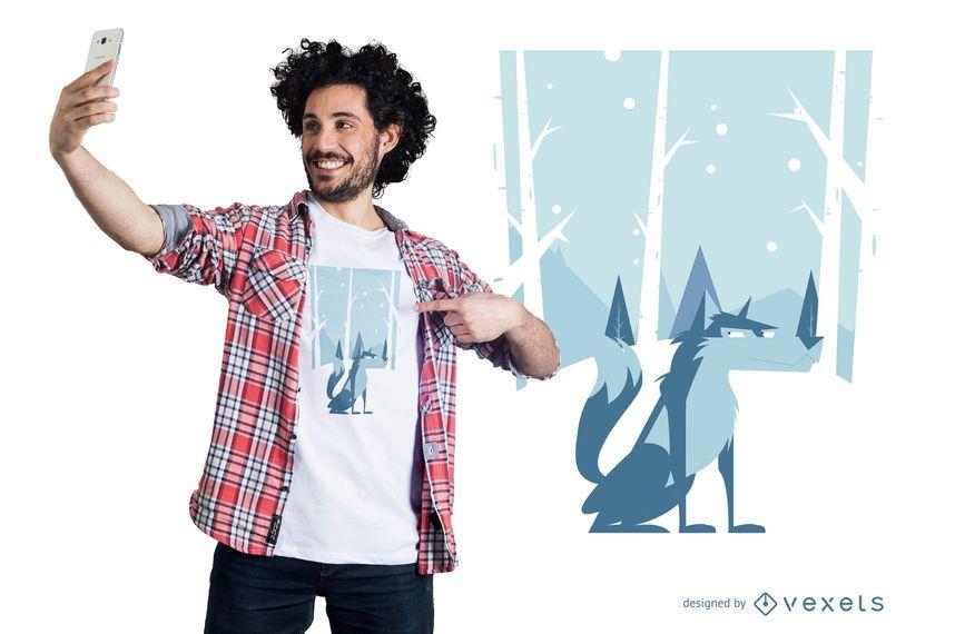Diseño de camiseta de lobo de invierno