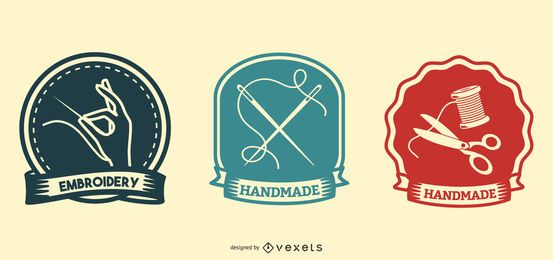 Conjunto de emblemas artesanais e bordados