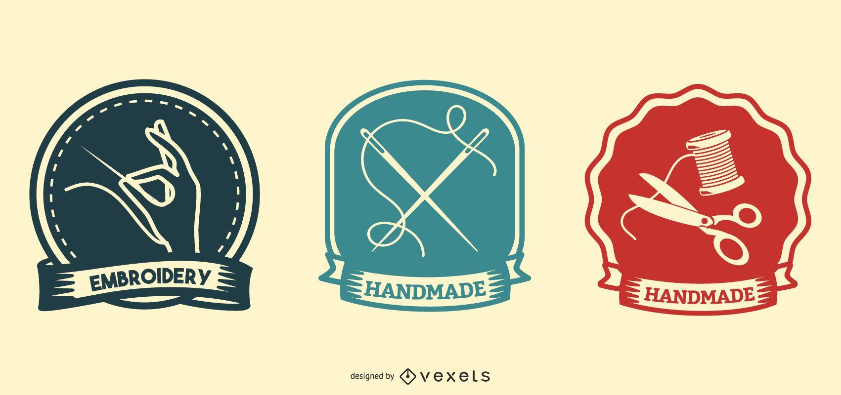 Conjunto de insignias hechas a mano y bordadas