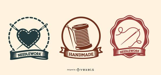 Conjunto de logotipo de serviços de agulha