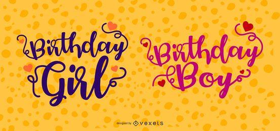 Conjunto de celebrante de cumpleaños cursiva
