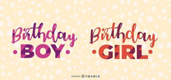 Diseño de letras de niño y niña de cumpleaños