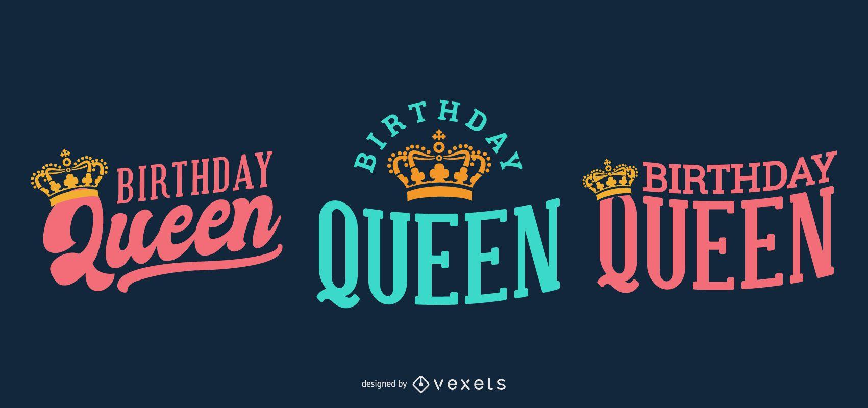 Birthday queen lettering set