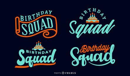 Geburtstag Squad Schriftzug Set