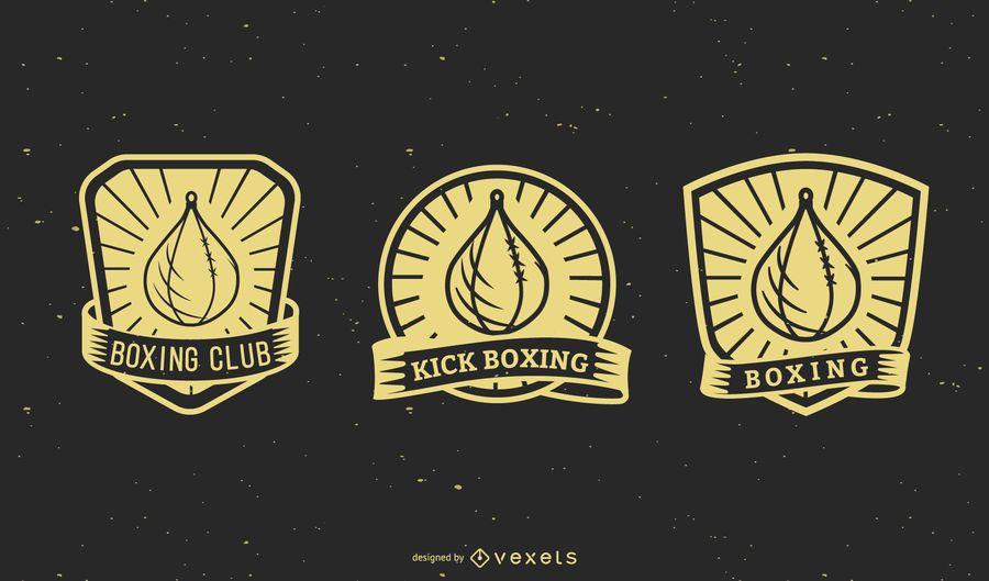 Conjunto de emblemas de boxe