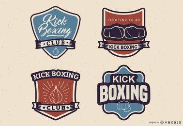 Kickboxing emblem set