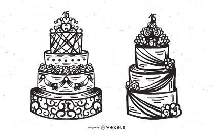 Conjunto de vetores de bolo de casamento