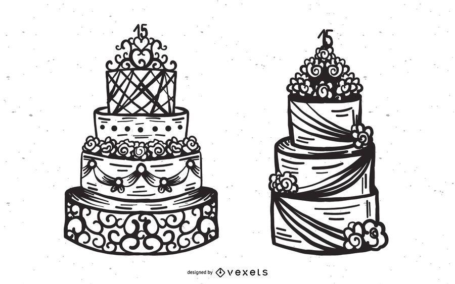 Bolo De Casamento Vector Set