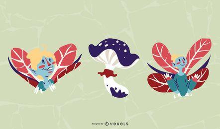 Conjunto de diseño de ilustración de hadas