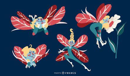 Conjunto de vectores de ilustración de hadas lindo