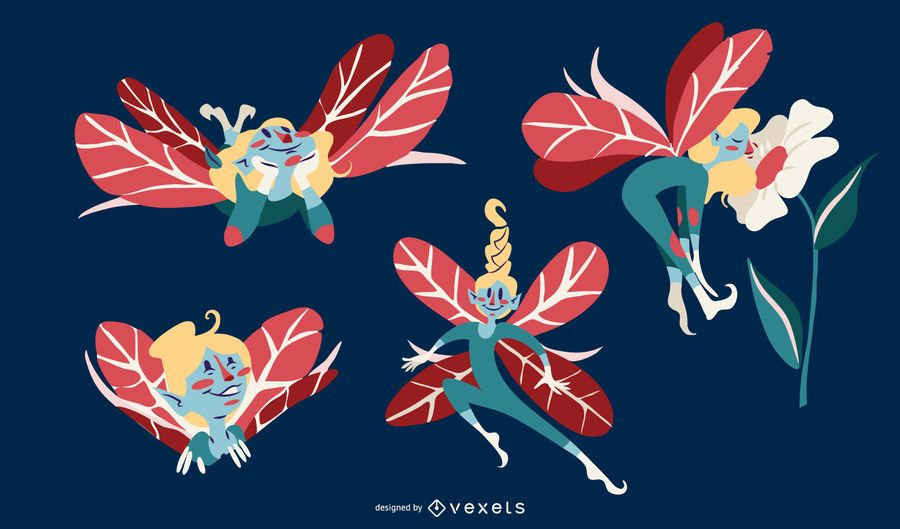 Cute Fairy Illustration Vector Set