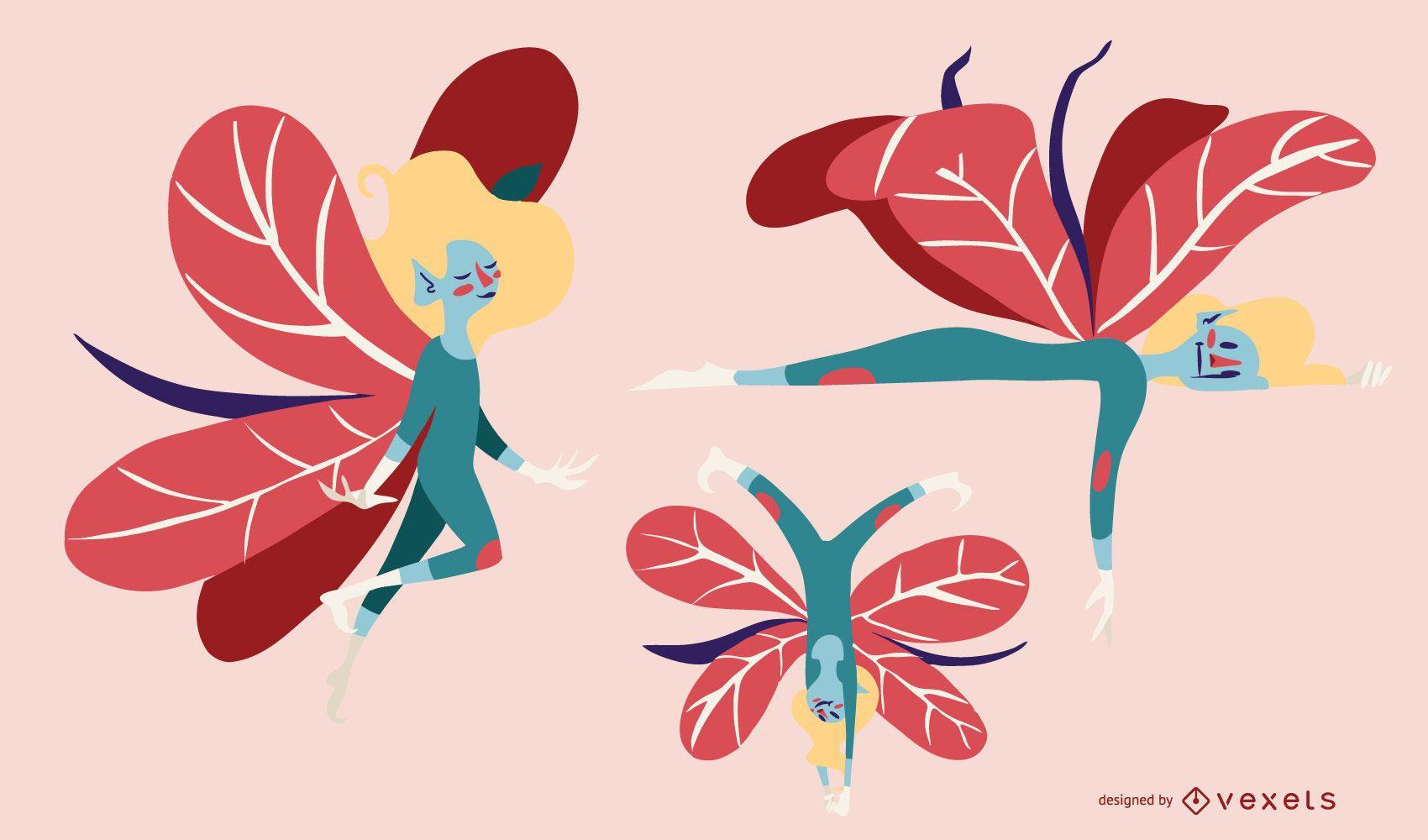 Cute Fairy Vector Set